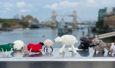 Purls allowed … Knit the City take the Thames. Photograph: Frantzesco Kangaris for the Guardian