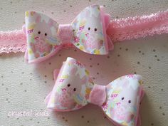 Stunning Baby Girls Pink Sparkly Easter Rabbit Headbands Hair Bow Clip Various Sizes by CrystalKidsShoes on Etsy