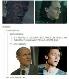 Colm Feore and Tom Hiddleston.  Totally see a resemblence now.