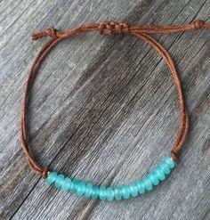 Dainty Friendship Bracelet / Cord Bracelet / Gemstone Beaded Bracelet / Aquamarine Jade Gemstone wit