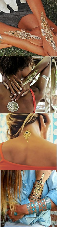 Trend of this summer - glitter gold / silver temporary tattoos. Get some and shine this summer! Just click on the picture to see more.