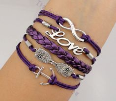 Purple silver love | -Infinity-Love-Owls-and-Anchor-Charm-Bracelet-in-Silver-Dark-Purple ...