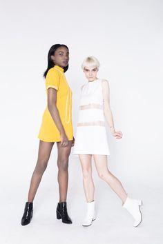 Mustard Mod Shift Dress 1960s Mod Shift with short sleeves