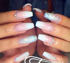 French fade nails crystals tammytaylor done at glitter ombre acrylic nail designs French Fade Nails, Faded Nails, Pink Nails, Sparkle Nails, Glitter Fade Nails, White Nails, French Manicure Ombre, Bridal Nails French, Ombre French