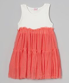 Loving this Coral & White Tulle Ruffle Dress - Toddler & Girls on #zulily! #zulilyfinds