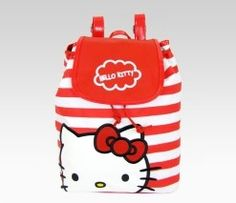 Red and white stripes back pack