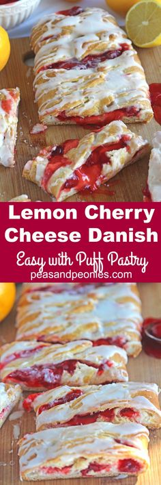 Lemon Cherry Cheese Danish Recipe is very easy to make with puff pastry, ready i. - Lemon Cherry Cheese Danish Recipe is very easy to make with puff pastry, ready in 30 minutes, with - Cheese Danish Recipe Puff Pastry, Cherry Cheese Danish Recipe, Puff Pastry Recipes, Easy Danish Recipe, Cherry Pastry Recipes, Cream Cheese Danish, Köstliche Desserts, Delicious Desserts, Dessert Recipes