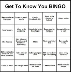 get to know you bingo more