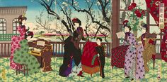 The honeymoon phase of Japan and the West Era Meiji, Modern World History, Opus, Japan Art, Museum Of Fine Arts, Woodblock Print, Art Forms, Color Inspiration, Kimono