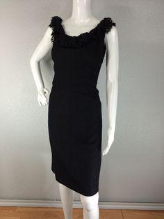 VINTAGE 1960s BLACK JONATHAN LOGAN RAYON LACE BOW WIGGLE DRESS M #WigglePencil