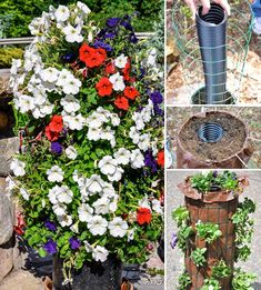 Make a flower tower with wire fencing and a plastic pipe Garden Trellis, Herb Garden, Vegetable Garden, Container Gardening, Gardening Tips, Gutter Garden, Flower Tower, Tower Garden, Types Of Vegetables