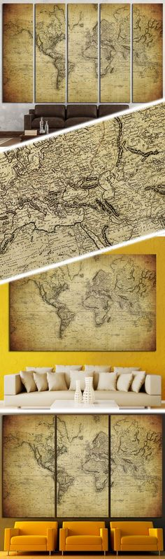World map №1453 Canvas Print | Office walls, Wall decorations and ...