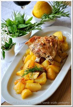 Oven baked lemon lamb and potatoes Greek Recipes, Wine Recipes, Salad Recipes, Cooking Recipes, Sour Foods, I Foods, Lamb Dishes, Food Dishes, Greek Menu