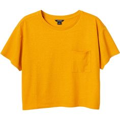 Monki Maja tee ($13) ❤ liked on Polyvore featuring tops, t-shirts, shirts, crop tops, dirty sunflowers, sunflower top, pocket tees, crop t shirt, pocket shirts and orange shirt