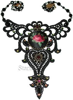 Michal Negrin Victorian Style Black Lace Cameo Necklace | eBay