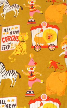 circus I had this print in blue/pink color way. I made my kids bedspreads & pillow shams with it! Also used contact paper to put giant giraffe & zebra on the walls. Circus Crafts, Circus Art, Circus Theme, Surface Pattern Design, Pattern Art, Print Patterns, Vintage Prints, Vintage Art, Circo Vintage