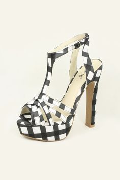 Joia Chequered Heels (Black) / Rs.1900