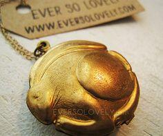 vintage brass bunny rabbit locket necklace #easter #charm #jewelry