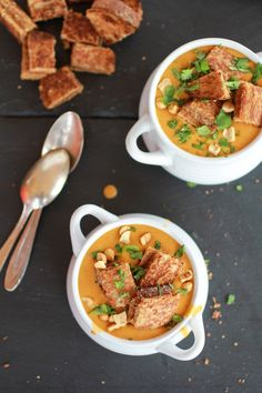 Sweet Potato Peanut Soup with Peanut Butter Croutons