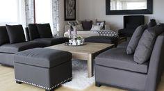 Flotte stuestoler i mørk grå farge og puff fra www.krogh-design.no Couch, Furniture, Design, Home Decor, Homemade Home Decor, Sofa, Sofas, Home Furnishings