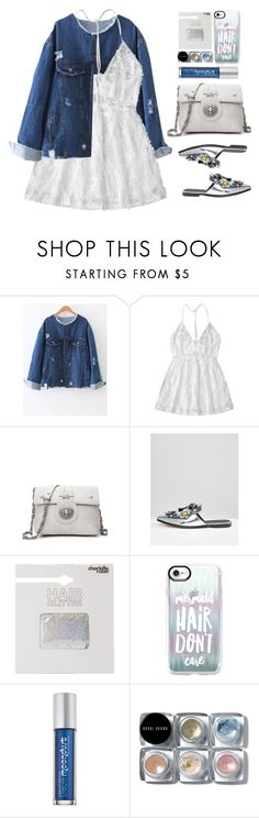 """White Lace Dress"" by justkejti ❤ liked on Polyvore featuring ASOS, Charlotte Russe, Casetify, Urban Decay, Bobbi Brown Cosmetics, metallic, eyelet, distresseddenim and zaful"