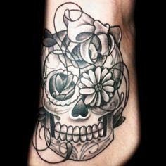 Sugar skull foot tattoo by Brandie Popps