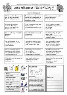 This worksheet contains 18 conversation cards, a matching exercise with pictures and a creative thinking and writing exercise. The cards can be cut out if desired and be used as conversation questions. Can be used with both young learners and adults (pre-intermediate to upper-intermediate). - ESL worksheets