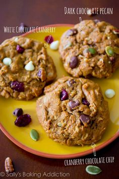 Best-ever Pumpkin Oatmeal Cookies. Chewy, not cakey. Make them 3 ways!  I think white chocolate chips, cranberries and pumpkin seeds would be yummy!