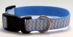 Blue and White Chevron Small or Medium Dog by KibblesandCollars, $7.99