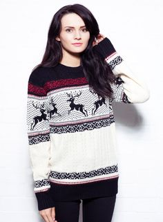 Reindeer Jumper In Black & Ecru