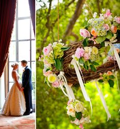 So forget the bride and groom, and the lovely flowers. Hang a large twig wreath above the bed, drape fabric - instant (sorta) canopy