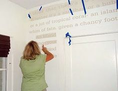 Leen the Graphics Queen- Installing Wall Vinyl - Pretty Handy Girl Tips for putting vinyl lettering on straight.