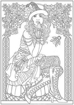 Steampunk Fashion Design Coloring Book For Adults Relaxation Stress Relieving