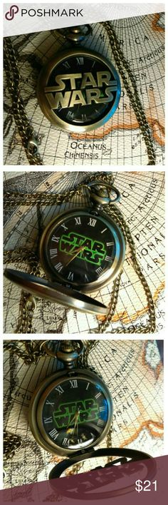 Star Wars Pocketwatch Antiqued brass pocketwatch for the Star Wars fan in your life! Only one in stock. Also have the Jedi Order pocketwatch. Comes in black velvet piuch with spare battery and free earrings! Accessories Watches