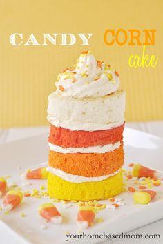 mini stacked Candy Corn cakes via @Leigh Anne, YourHomebasedMom yourhomebasedmom.com  #halloween