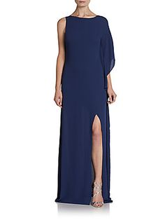 One-Sleeve Draped Crepe Gown
