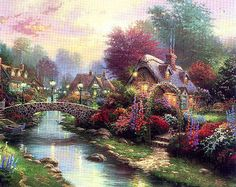 Thomas Kinkade Lamplight Bridge print for sale. Shop for Thomas Kinkade Lamplight Bridge painting and frame at discount price, ships in 24 hours. Thomas Kinkade Art, Kinkade Paintings, Thomas Kincaid, Bridge Painting, Art Thomas, Cross Stitch Landscape, Cottage Art, Paint By Number Kits, Le Point