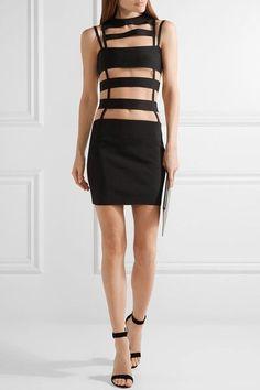 Balmain - Cutout Mesh-paneled Stretch-knit Mini Dress - Black - FR40
