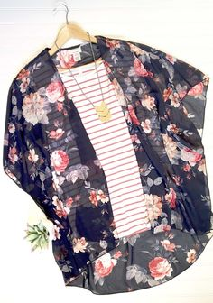 Floral Kimono and Striped Cold-Shoulder Top. Perfect Spring outfit! LOVE! Libby & Dot Collections: Boutique Clothing and Monograms