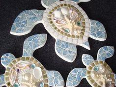 Medium Sea Shell Mosaic Sea Turtle by ShadyGroveMosaics on Etsy