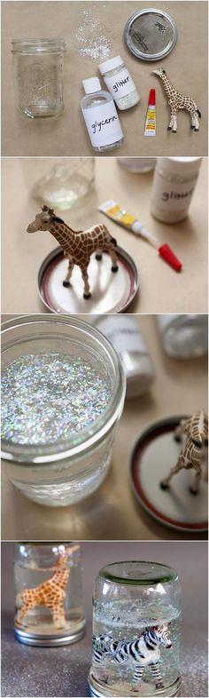 DIY Mason Jar Glitter Snow Globes