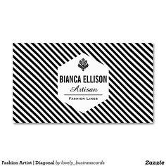Fashion Artist | Diagonal Standard Business Card #diagonallines #businesscards #fashionlines #fashiondesigner #boutiqueshop #hairstylist #graphicdesigner #patterns