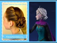 ▶ Elsa Hairstyle, Inspired By Disney (Frozen) Coronation Updo. Since I got an Elsa-like dress for prom, I may do my hair like this for prom! Frozen Hairstyles, Cute Girls Hairstyles, Princess Hairstyles, Pretty Hairstyles, Braided Hairstyles, Anna Und Elsa, Elsa Coronation, Disney Hair, No Bad Days
