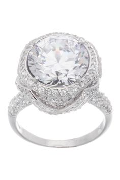 Sterling Silver CZ Round Cocktail Ring