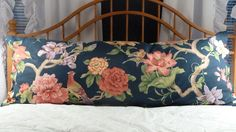 Luscious P Kaufman body pillow cover in rich, vibrant navy, rose, green & yellow floral. $32.00, via Etsy.