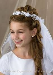 first communion hair with veil.and.flowers - Google Search
