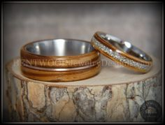 Bentwood Rings Set - Zebrawood Ring Set with Glass Inlay and Bronze Guitar String Inlay