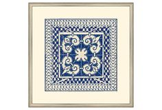"""Small Indigo Tile IV Print inspired by painted Moroccan Tile, 15"""" x 15"""", silver wood frame, on OneKingsLane.com"""