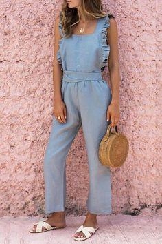 Ruffled Backless Sexy Linen Jumpsuit – cue-q Backless Jumpsuit, Jumpsuit Outfit, Casual Jumpsuit, Summer Jumpsuit, Ruffle Jumpsuit, Denim Jumpsuit, Rompers Women, Jumpsuits For Women, Fashion Jumpsuits