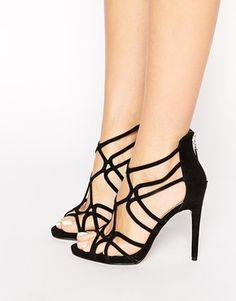 Asos-Sandalias de tacón con múltiples tiras en negro Freya de Miss KG  Zapatos Sexys 63dd2027f60f
